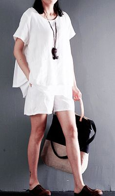 Two pieces white linen summer top and shorts plus size cotton clothing