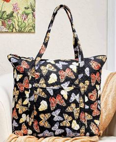 7ded0f166a Butterfly Print Quilted Oversized Luggage Tote Duffel Cotton Fully Lined  Butterfly Bags