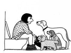 Para retratar a convivência entre humanos e seu melhor amigo, o cachorro, o artista britânico Ruppert Fawcett lançou uma série de cartuns criativos e divertidos inspirados nesta simbólica relação afeto e cumplicidade.