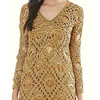 Vestido Dourado Decote V – Fio Círculo Encanto