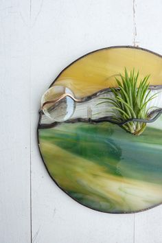 Round Stained glass Panel Air Plant Holder Green by glassetc