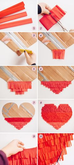 DIY giant fringe heart backdrop