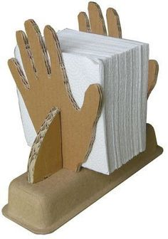 Napkin Holder Project Description Material One Box Flour Glue Tape Cardboard Box Crafts, Cardboard Design, Cardboard Sculpture, Cardboard Toys, Cardboard Furniture, Newspaper Crafts, Foam Crafts, Sculpture Art, Diy Home Crafts