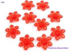 10 Perlen Blume Blüte 5x27mm rot von fashion-dekoatelier auf DaWanda.com