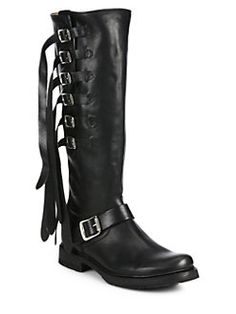 Frye - Veronica Strappy Buckled Leather Knee-High Boots
