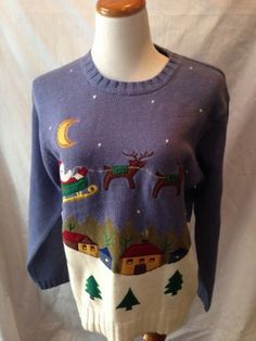 BOBBIE BROOKS Santa's Sleigh UGLY XMAS SWEATER Large