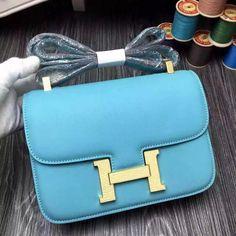 Hermes 18cm 23cm Constance Swift Bag with Lizard Leather Buckle Light Blue  2016  Hermeshandbags 00298a8234c40