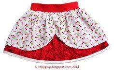 Winter girl skirt in velvet and cotton, with lovely cherry print! - RobyGiup handmade #children #clothing #sewing