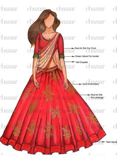 DIY Red Umbrella Lehenga Choli