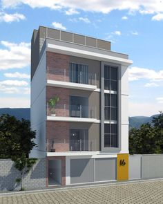 A7 Arquitetura: Projeto Residencial Multifamiliar Modern Exterior House Designs, Modern Apartment Design, Apartment Layout, Modern House Design, Facade Architecture, Residential Architecture, Home Building Design, Building A House, Studio Loft