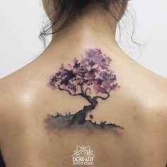 Photo: Back Tree Tattoo Watercolor by Deborah Genchi http://www.dubuddha.org/back-tree-tattoo-watercolor/