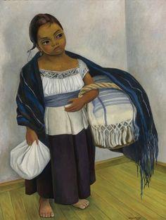 Diego Rivera, Girl in Blue and White (Niña En Azul y Blanco), 1939 Oil on canvas on ArtStack #diego-rivera #art