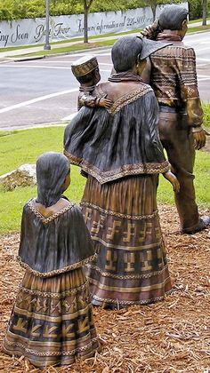 Bronze statue groups honoring Florida Native Americans on grounds of the R.A. Gray Building - Tallahassee, Florida