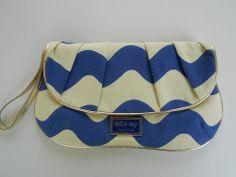 Felix Rey Blue and White Wavy Stripes Canvas Clutch Orange Interior Mag Snaps   Sold