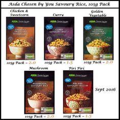 Slimming world Asda rice syns Asda Slimming World, Savory Rice, Piri Piri, Curry Rice, Side Dishes, Stuffed Mushrooms, Chicken, Vegetables, Food