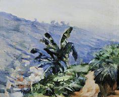 Paisagem com bananeiras,  1927 Cândido Portinari ( Brasil 1903-1962) óleo sobre madeira,  22 x 27 cm Coleção Particular