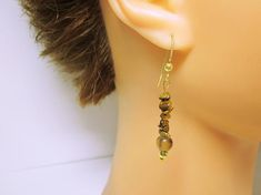 Tigers Eye Stacked Earrings Tigers Eye Stones On Gold Pin And Hooks Round Bead End Statement Earrings ~~ Natural Beauty~~ Tiny Polished Tigers Eye . Tiger Eye Earrings, Ruby Earrings, Crystal Earrings, Statement Earrings, Dangle Earrings, Black Jewelry, Pearl Jewelry, Boho Jewelry, Beaded Jewelry