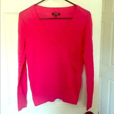 EXPRESS long sleeved sweater EXPRESS Pink long sleeved V-neck sweater. Size small. In great condition! Express Sweaters V-Necks
