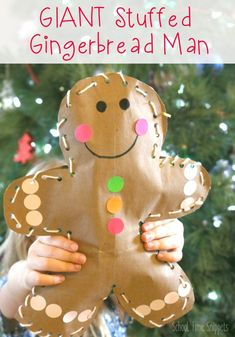 Make your own DIY Jumbo Stuffed Gingerbread Man this holiday season! This adorable gingerbread man craft is great for fine motor skills... who wouldn't want their very own giant gingerbread man?! #gingerbreadman #christmascraftsforkids #finemotor