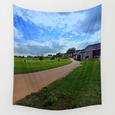 Country road with cloudy sky Wall Tapestries, Tapestry, Sky Landscape, Landscape Photography, Golf Courses, Scenery, Country Roads, Products, Wall Hangings