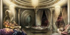 Dinner with Titus - Original concept art for Titus Abrasax's chambers. - Jupiter Ascending – Official Look Book Fantasy Places, Sci Fi Fantasy, Fantasy World, Jupiter Ascending, Episode Backgrounds, Alien Planet, Fantasy Castle, Story Setting, Environment Concept Art