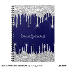 Drips Glitter Effect Blue Navy Courage Name Glam Notebook Gray Shower Curtains, Custom Shower Curtains, Glitter Home Decor, Custom Notebooks, Bridal Beauty, Blue And Silver, Create Yourself, Girly, Pattern