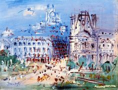 View of Paris Artwork by Jean Dufy Hand-painted and Art Prints on canvas for sale,you can custom the size and frame