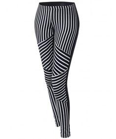 2718dd8ba7e13 Women's Stripe Panel Back Color Contrast Leggings Unique Colors, Black And  Grey, Contrast,