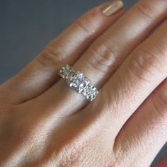 Classic Timeless 1950s Illusion Head 14KT White Gold Three Stone Diamond Engagement Ring Size 7