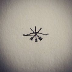 Miniature drawing of three arrows and a bow #mini #small #miniature #drawing…