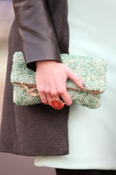 Could this possibly be the coolest beaded clutch ever? Plus, we're totally lusting after the soft mint hues.