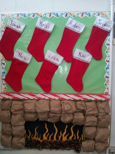 "Christmas Preschool bulletin board fireplace....paper bag ""stones"""