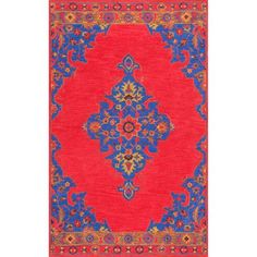Red Rectangular: 7 Ft. 6 In. x 9 Ft. 6 In. Rug