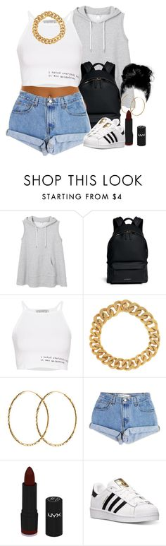 """Untitled #1543"" by lulu-foreva ❤ liked on Polyvore featuring Monki, Givenchy, Pull&Bear, Yves Saint Laurent, Pernille Corydon, Levi's, NYX, adidas, women's clothing and women's fashion"