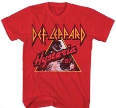 Def Leppard Concert Tour T-shirt - Hysteria '87. Men's Red Shirt