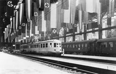 Berlin railway station decorated with flags for the state visit of Mussolini to Germany, 25-28 September 1937.
