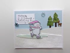 Snow Bear Christmas Card Skating Bear Winter by lilaccottagecards