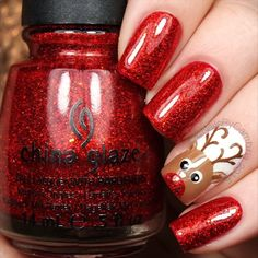 Here's the tutorial for my Rudolph nails! Tag someone who would ❤️ these! Rudolph The Red-Nosed Reindeer - Burl Ives @chinaglazeofficial Ring In The Red and White On White @twinkled_t #00 nail art brush | 10% off with my code ❤️CAMBRIA❤️ Dotting tools Brown, red, black, and white acrylic craft paints  @sechenails Seche Vite All polishes except RITR are from @hbbeautybar | 15% off with code nailsbycambria  #25daysofchristmasnailsbycambria