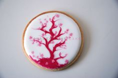 cherry blossom wet on wet icing cookie.  - These were some of my first  cookies. I tried to use the wet on wet technique. I ve always loved cherry blossom. ...