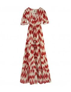 Figue Red & White Floor-Length Kalila Dress