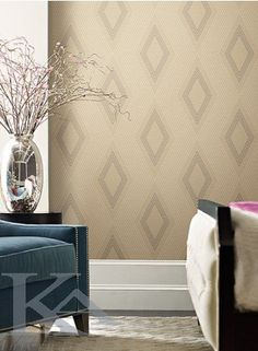 This geometric print has captured a masculine vibe. The field is covered with intermittent horizontal speckled lines. The primary pattern is formed of concentri Modern Wallpaper Designs, Contemporary Wallpaper, Geometric Wallpaper, Designer Wallpaper, Hallway Wallpaper, Wallpaper Online, Blue Design, Tapestry, Beige
