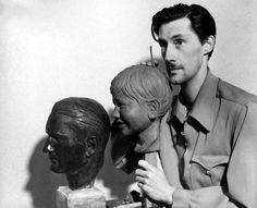 John Carradine | John Carradine at work on a bust of his son Bruce