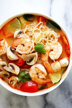 Thai Shrimp Ramen Noodle Soup – quick and easy Thai shrimp noodle soup made with instant ramen noodles. Loaded with shrimp, mushrooms, herbs, tomatoes and mouthwatering Thai Tom Yum soup. So good!   rasamalaysia.com