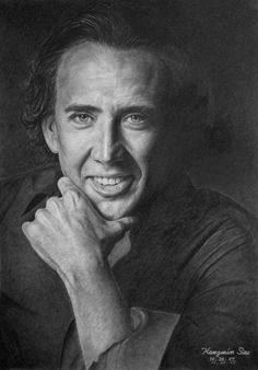 Nicolas Cage / Pencil drawings of various celebrities by Michelle Seo Realistic Pencil Drawings, Pencil Drawing Tutorials, Amazing Drawings, Portrait Au Crayon, Pencil Portrait, Portrait Art, Nicolas Cage, Celebrity Drawings, Celebrity Portraits