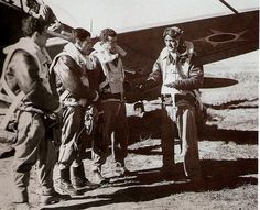 Brazilian fighter pilots before taking off for combat, Italy-WWII