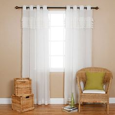Outdoor Curtains - IYUEGO Grommet Top Pleated White Sheer Window CurtainsDrapePanelsTreatment Grommet Top With Custom Multi Size 72 W x 96 L One Panel * Continue to the product at the image link. (This is an Amazon affiliate link)