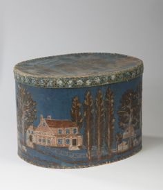 RURAL LIFE WALL-PAPER COVERED OVAL BOX WITH LANDSCAPE, S.M. HURLBERT.