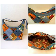 This is a Beautiful and Unique Patchwork Shoulder Bag with different squares of Southwestern Themes and Upcycled Blue Denim. Its really nice bag ! Made of different cotton fabric with Southwestern theme, upcycled denim of different shade blue color. Totally Free motion quilted with poly felt. The bag is Soft and pliable. Upcycled Floral outdoor lining with three pockets (one is zippered). Closure with bronze color zipper. Size 8 12 of tall (center) by about 14 1/2 of wide (top), bottom 1...