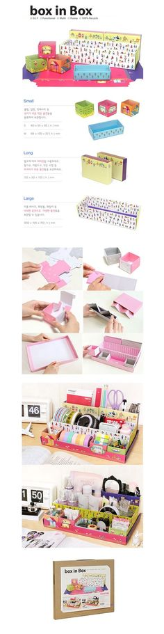 Box in Box - Village [Paper Desk Organizer / Office Desk Organizer Box]
