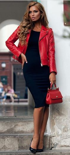 #fall #outfits women's red leather full-zip jacket